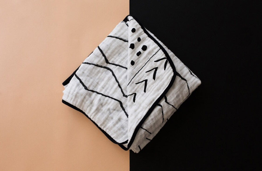 *JUST RESTOCKED + NEW AND IMPROVED * 4 Layer  Organic Cotton Muslin Quilt -  REVERSIBLE Mud Cloth © + Moroccan