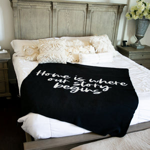 Made in the USA | Recycled Cotton Blend Home is where our story begins Throw Blanket | Black
