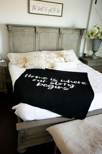 *NEW* Made in the USA | Recycled Cotton Blend Home is where our story begins Throw Blanket | Black