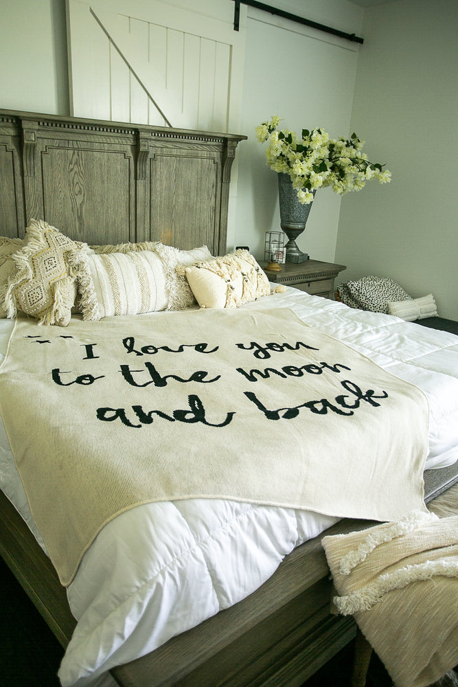 Made in the USA | Recycled Cotton Blend I love you to the moon and back Throw Blanket | Natural