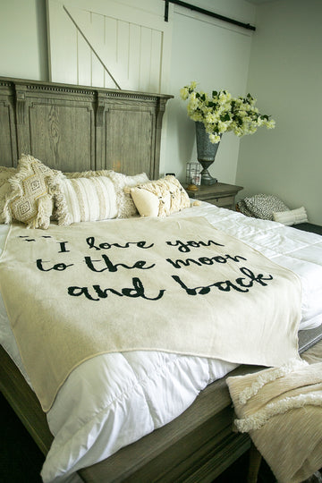 *NEW* Made in the USA | Recycled Cotton Blend I love you to the moon and back Throw Blanket | Natural