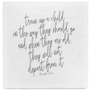 Load image into Gallery viewer, Organic Cotton Muslin Swaddle Blanket + Wall Art - Train up a child in the way they should go, and when they are old, they will not depart from it. Proverbs 22:6