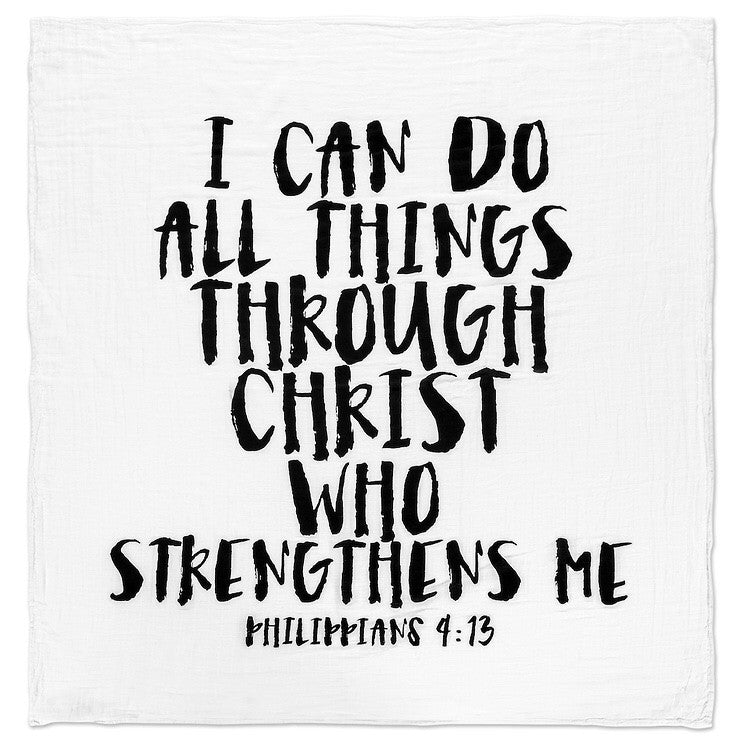 Load image into Gallery viewer, Organic Cotton Muslin Swaddle Blanket + Wall Art - Philippians 4:13  I can do all things through Christ who strengthens me