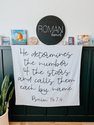 Load image into Gallery viewer, Organic Cotton Muslin Swaddle Blanket + Wall Art - He determines the number of the stars and calls them each by name. Psalm 147:4