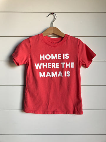 SILOS SALE Home is where the mama is Kid's Crewneck Tee - Living Coral (only size 2 available)