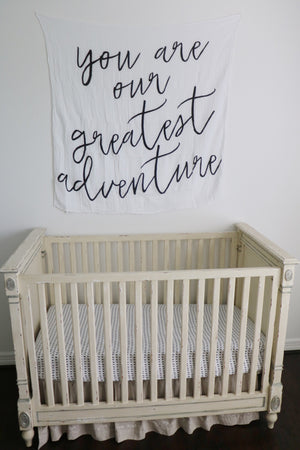 Load image into Gallery viewer, Organic Cotton Muslin Swaddle Blanket + Wall Art -  You are our greatest adventure