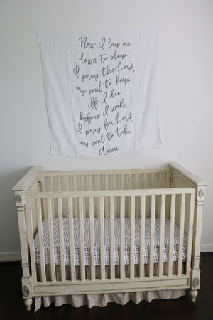 Load image into Gallery viewer, Organic Cotton Muslin Swaddle Blanket + Wall Art -  Now I lay me prayer (original version)