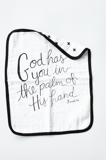 NEW 4 Layer  Organic Cotton Muslin Burp Cloth -  REVERSIBLE Isaiah 49:16 God has you + Swiss Cross