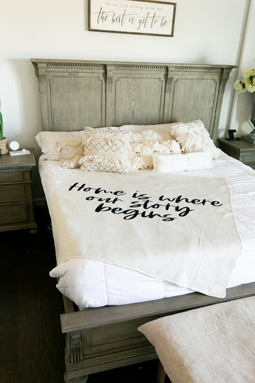 *NEW* Made in the USA | Recycled Cotton Blend Home is where our story begins Throw Blanket | Natural