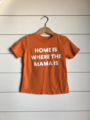 Load image into Gallery viewer, Home is where the mama is Kid's Crewneck Tee - Amberglow (only size 2 available)