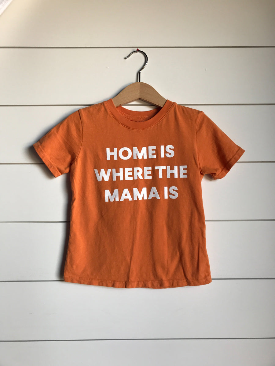 Home is where the mama is Kid's Crewneck Tee - Amberglow (only size 2 available)