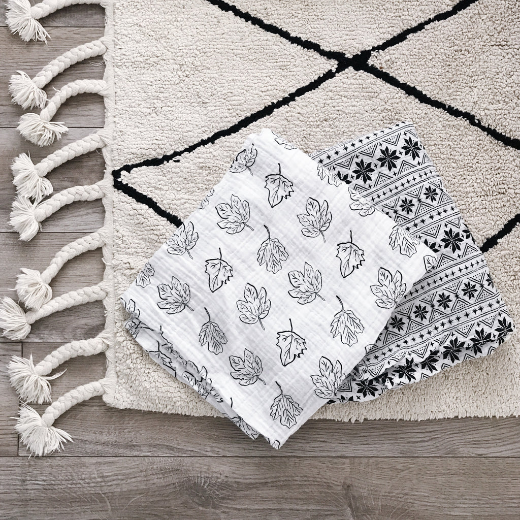 Organic Cotton Muslin Swaddle Blanket - Fall Leaves