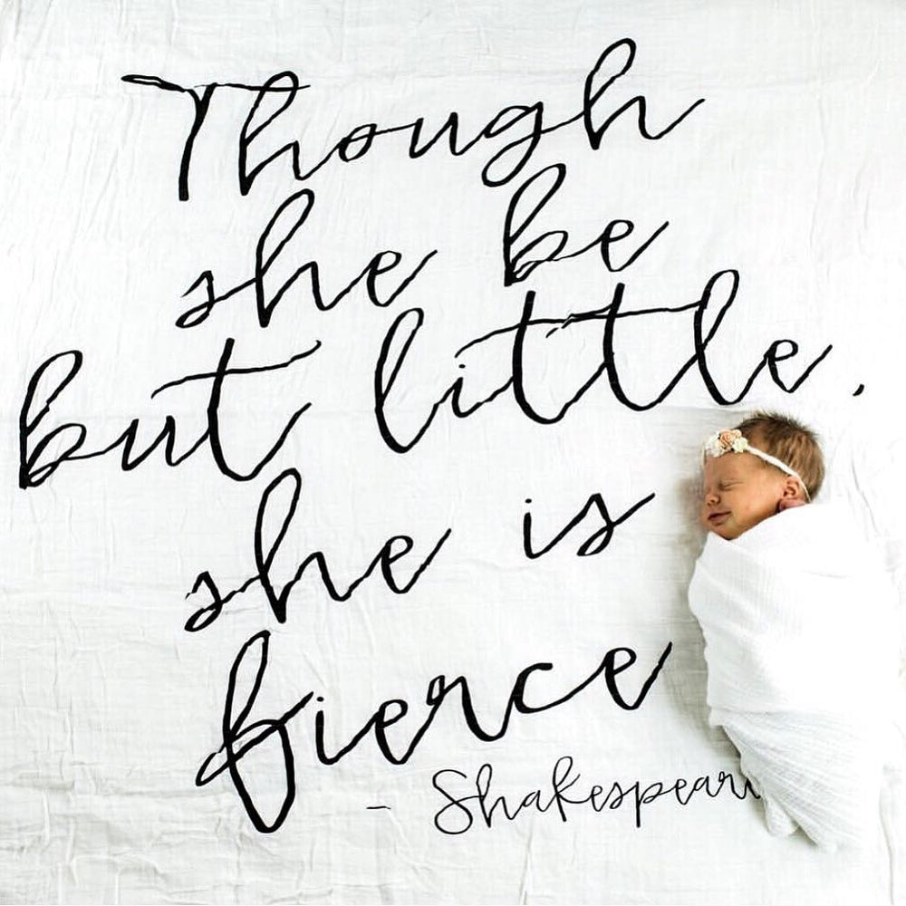 Eco Tote Bag with bee and Shakespeare quote though she be but little black and white bee illustration she is fierce.