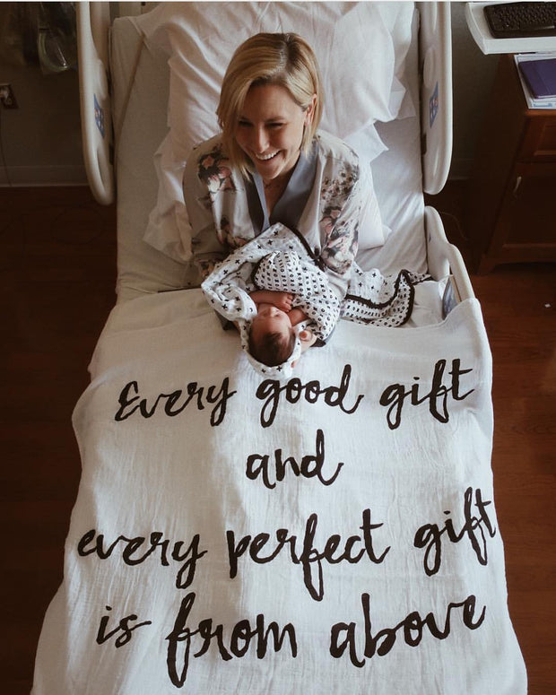Organic Cotton Muslin Swaddle Blanket+ Wall Art - Every good gift and every perfect gift is from above James 1:17 1