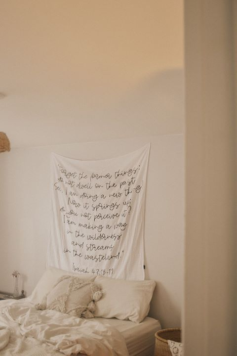 """Organic Cotton Muslin Swaddle Blanket + Wall Art - Isaiah 43:18-19 """"Forget the former things... I am making a way in the wilderness and streams in the wasteland."""" 1"""
