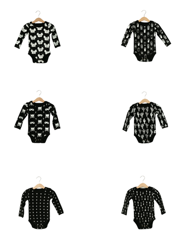 Organic Long Sleeve Bodysuit -  Prints