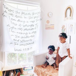 "Organic Cotton Muslin Swaddle Blanket + Wall Art - Isaiah 43:18-19 ""Forget the former things... I am making a way in the wilderness and streams in the wasteland."""