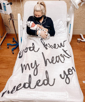 Load image into Gallery viewer, Organic Cotton Muslin Swaddle Blanket + Wall Art -   God knew my heart needed you™