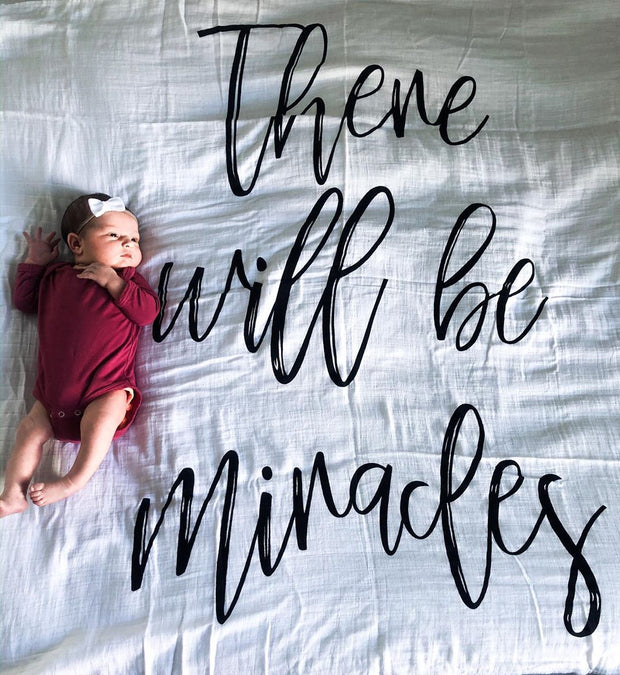 Organic Cotton Muslin Swaddle Blanket + Wall Art -  There will be miracles 1