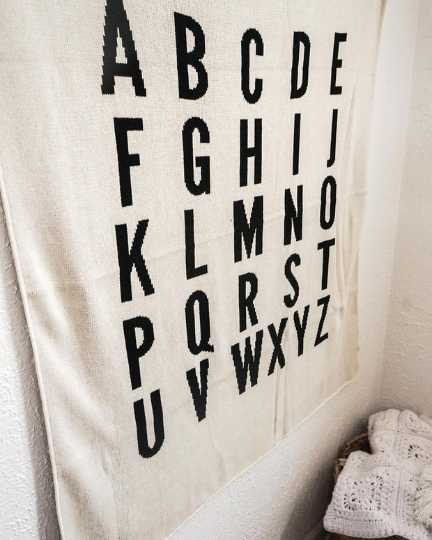 Made in the USA   Recycled Cotton Blend  ABC Throw Blanket   Natural 1