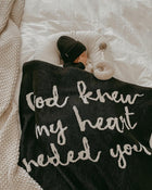 Made in the USA   Recycled Cotton Blend  God knew my heart needed you Throw Blanket   Black