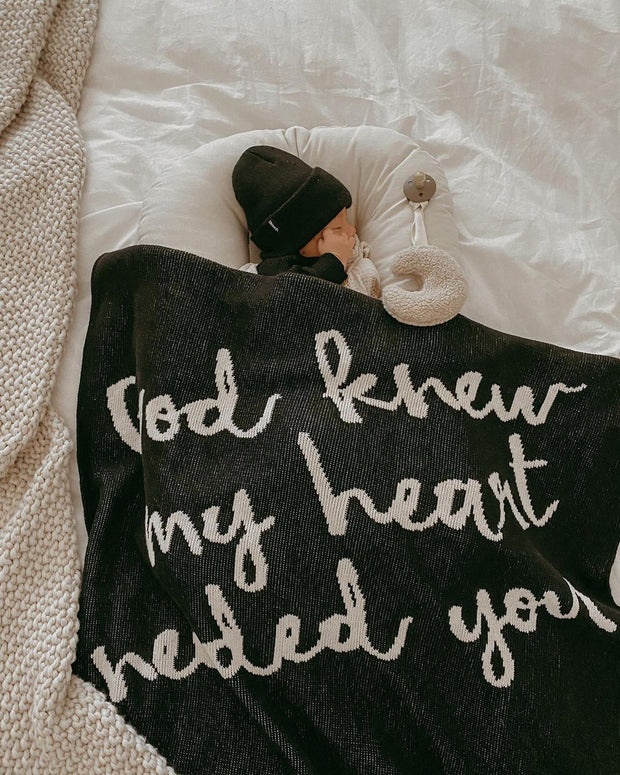 Made in the USA | Recycled Cotton Blend  God knew my heart needed you Throw Blanket | Black 1