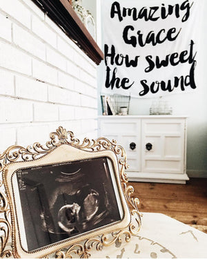 Load image into Gallery viewer, Organic Cotton Muslin Swaddle Blanket + Wall Art -  Amazing Grace How Sweet the Sound