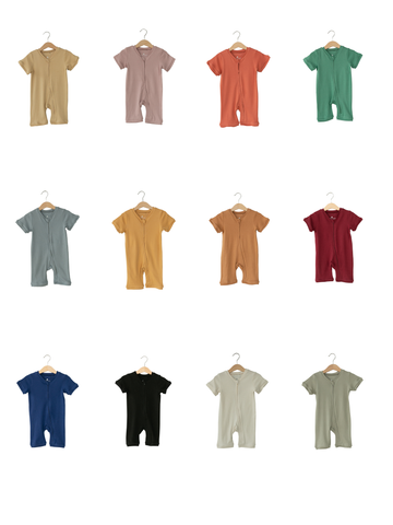 Organic Short Sleeve Zip Romper -  Colors