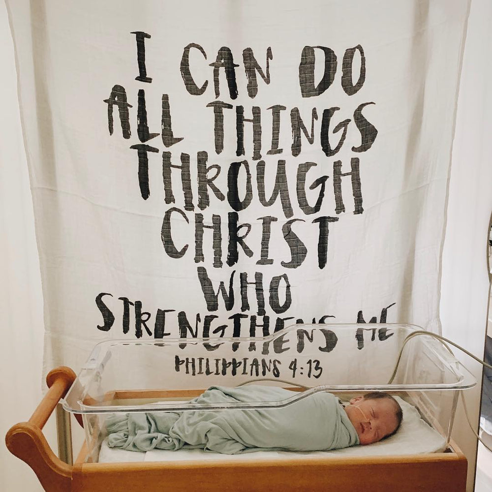 Organic Cotton Muslin Swaddle Blanket + Wall Art - Philippians 4:13  I can do all things through Christ who strengthens me