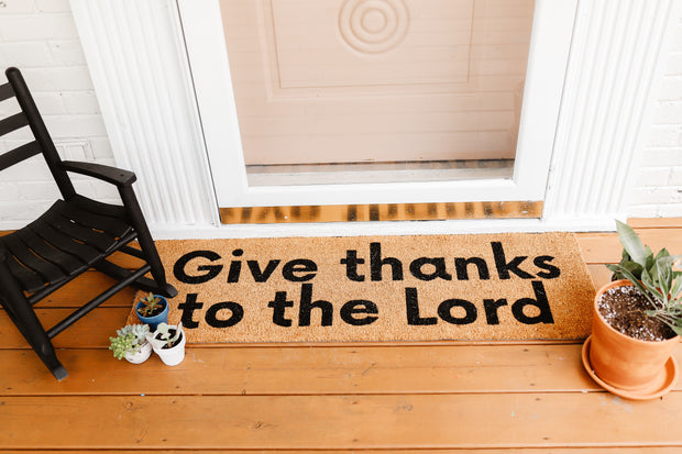 XL Scripture Doormat   Give thanks to the Lord 1