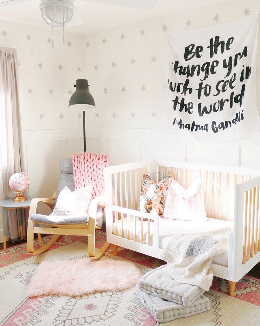 Organic Cotton Muslin Swaddle Blanket + Wall Art -  Be the change