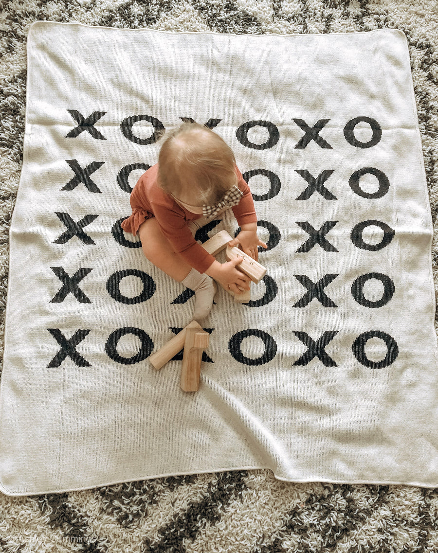 *NEW* Made in the USA | Recycled Cotton Blend  XO Throw Blanket | Natural