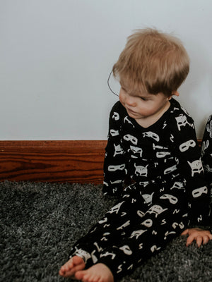 Load image into Gallery viewer, Organic Pajama Set -  WHITE ON BLACK HERO STRUCK©