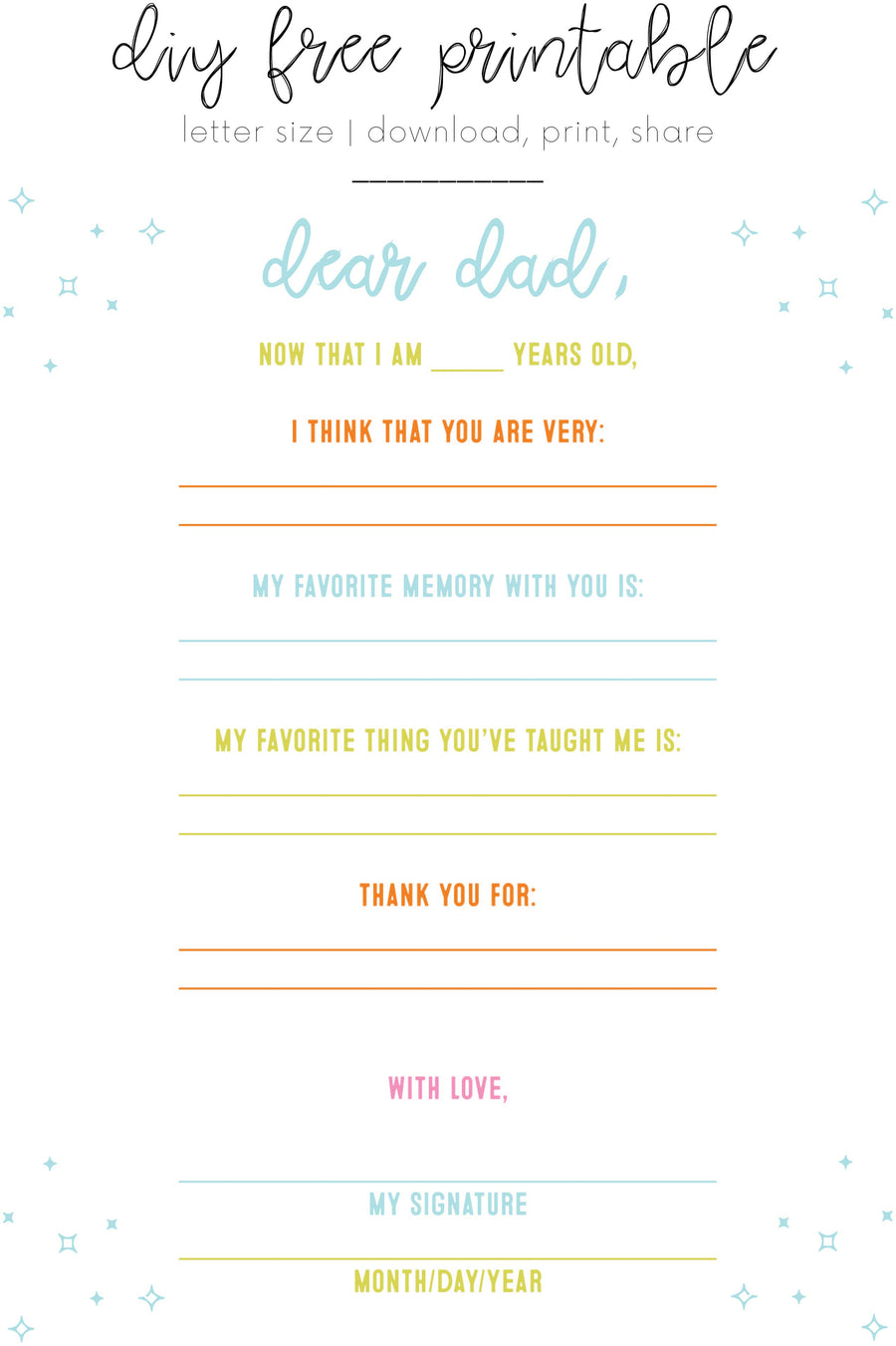 DIY Dear Dad Father's Day Printable