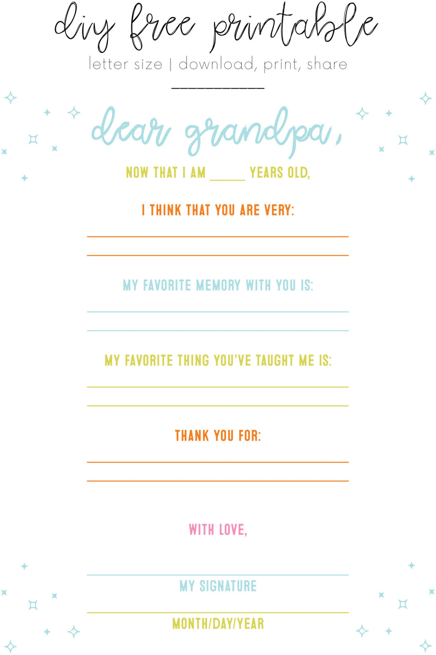 DIY Dear Grandpa Father's Day Printable