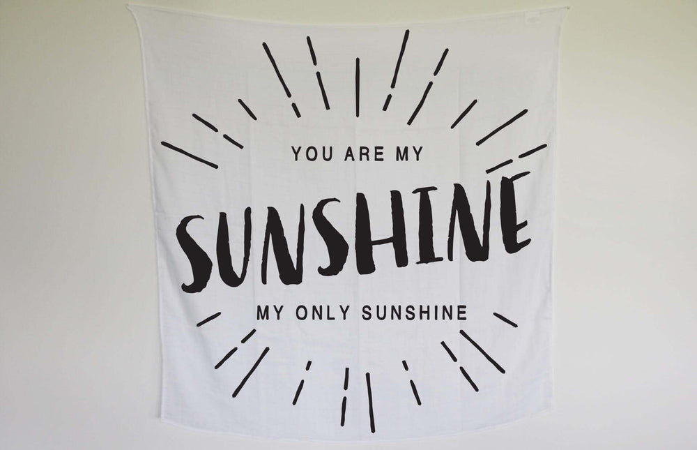 Load image into Gallery viewer, Organic Cotton Organic Cotton Muslin Swaddle Blanket + Wall Art -   You are my sunshine