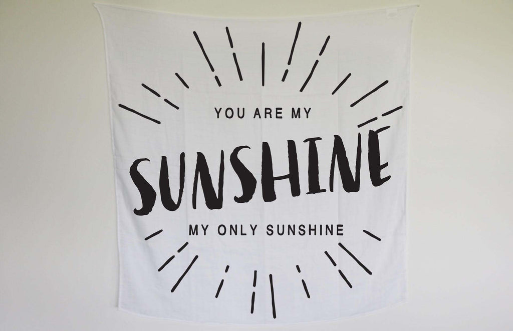 Organic Cotton Muslin Swaddle Blanket -  You are my sunshine
