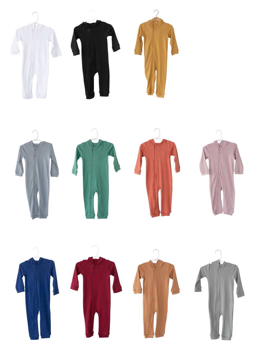 Organic Hoodie Zip Coverall -  Colors