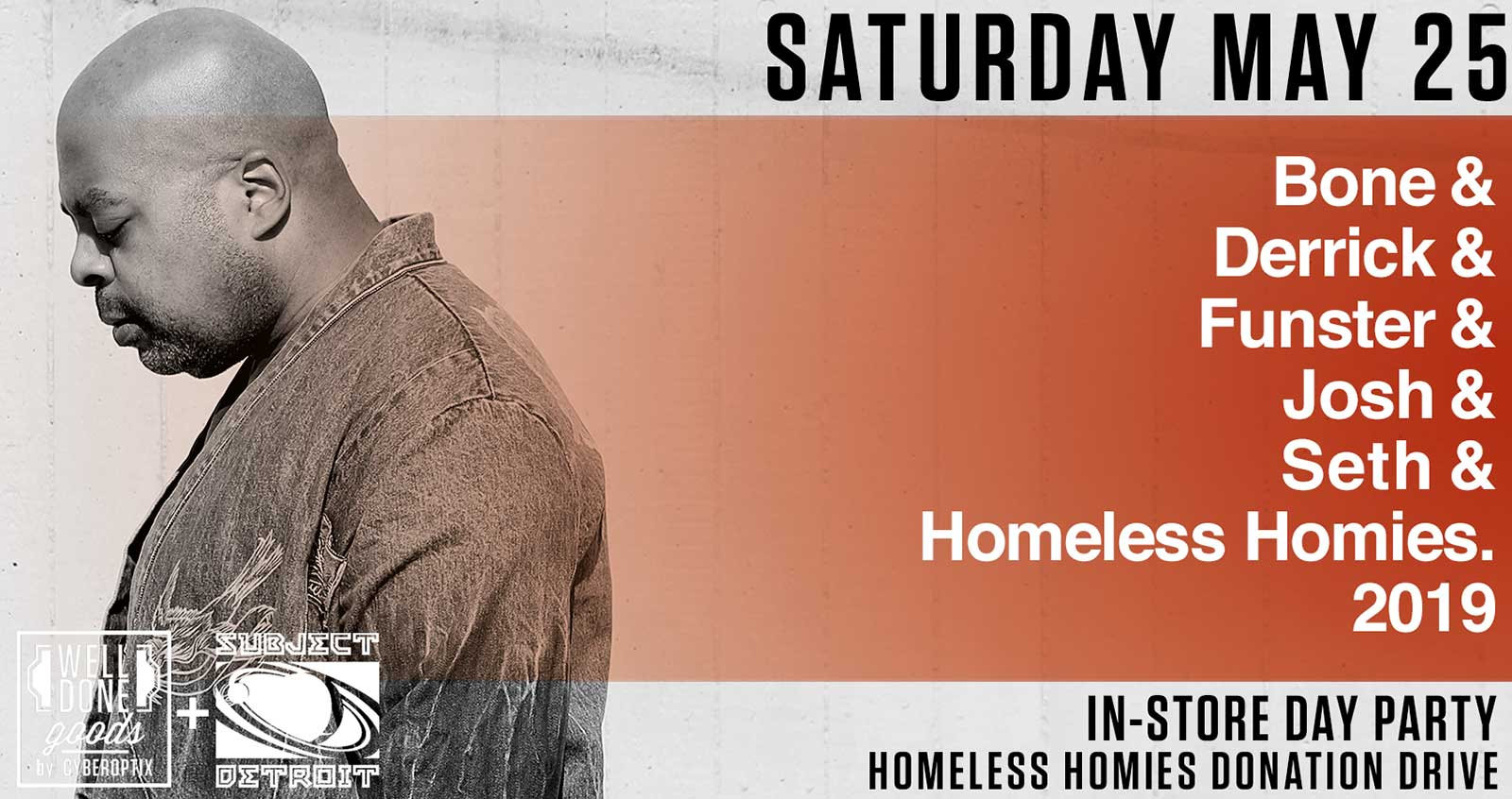 Dj Bone, Homeless Homies Party benefit, Movement weekend Sat May 25