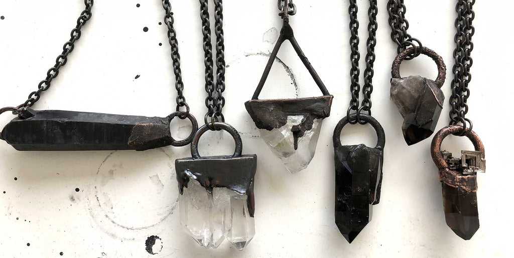 electroformed quartz crystal pendants