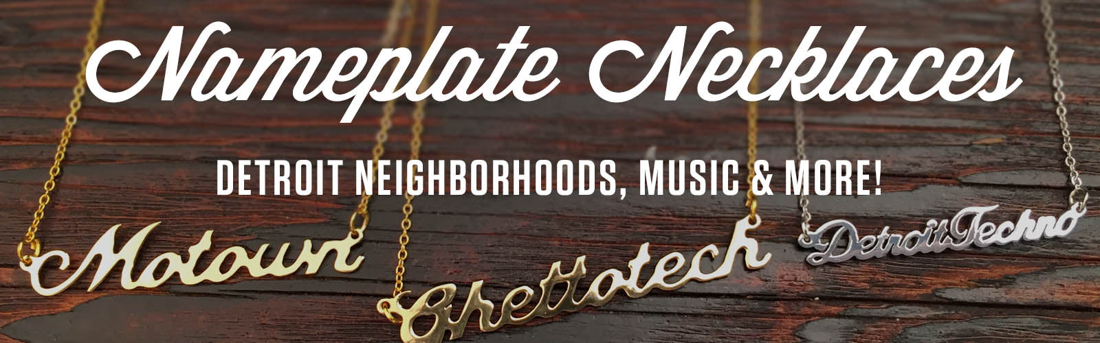 Detroit and Michigan script neighborhood necklaces