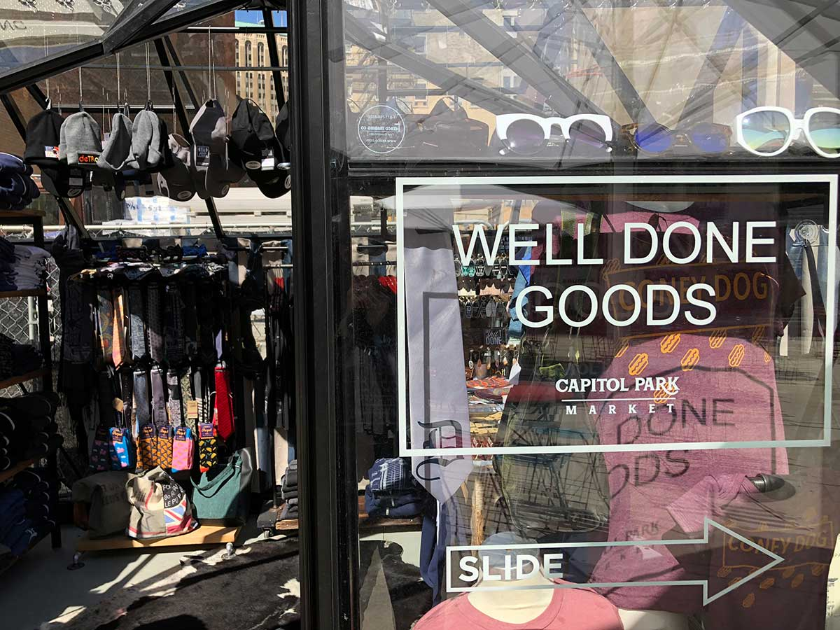 Well Done Goods satellite pop-up store in Capitol Park, Detroit