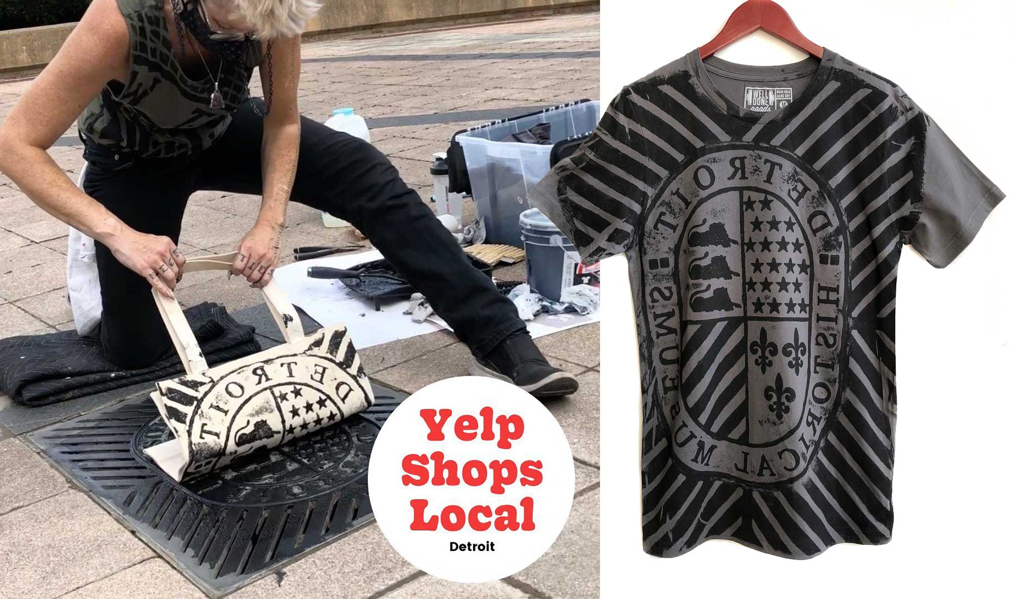 yelp live, manhole printing, well done goods