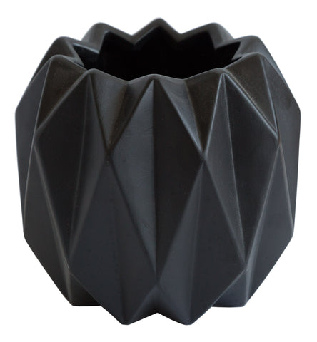 Matte Black 10 Point Geometric Vase, Well Done Goods
