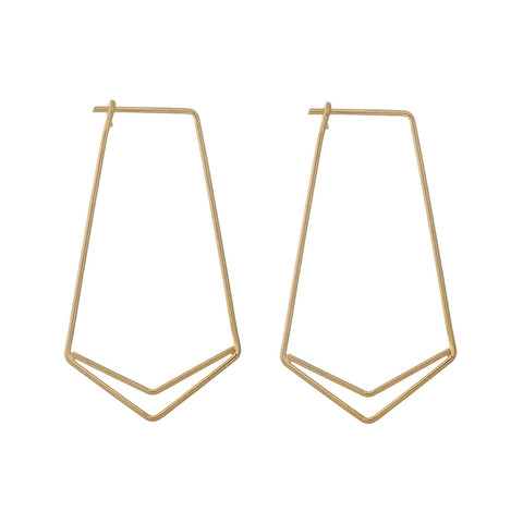 Geometric Single Chevron, Post Style Earrings