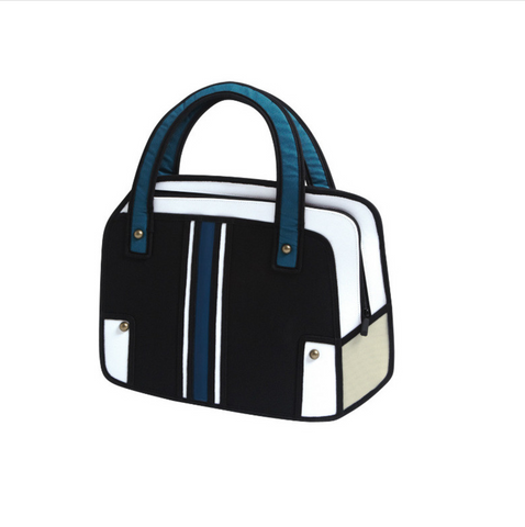 2D/3D Cartoon Satchel Style Black and White Bag, Well Done Goods