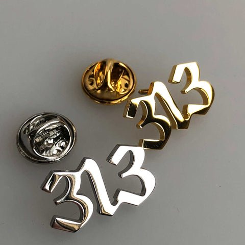 313, Detroit Area Code Lapel Pins, gold + silver. Old English Script