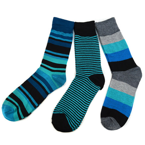 Parquet Turquoise/Black 3 Pack Socks, Well Done Goods