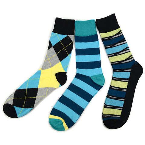 Parquet Turquoise/Lime Socks 3-Pack, Well Done Goods