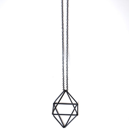 Black Double Pyramid 3D Pendant Necklace, Well Done Goods